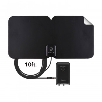 Antop HDTV & FM Amplified Paper-Thin Antenna con Smart Boost - AT-300SBS